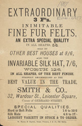 Advert for Smith & Co, milliner 6417